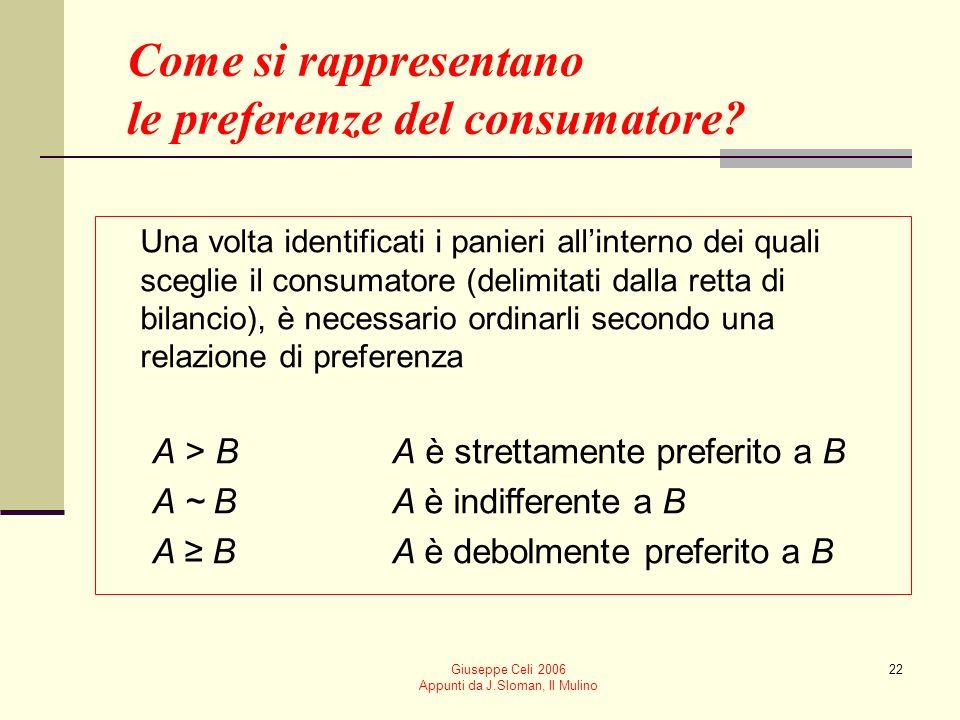 Giuseppe Celi 2006 Appunti da J.Sloman, Il Mulino 22 Come si rappresentano le preferenze del consumatore? Una volta identificati i panieri allinterno