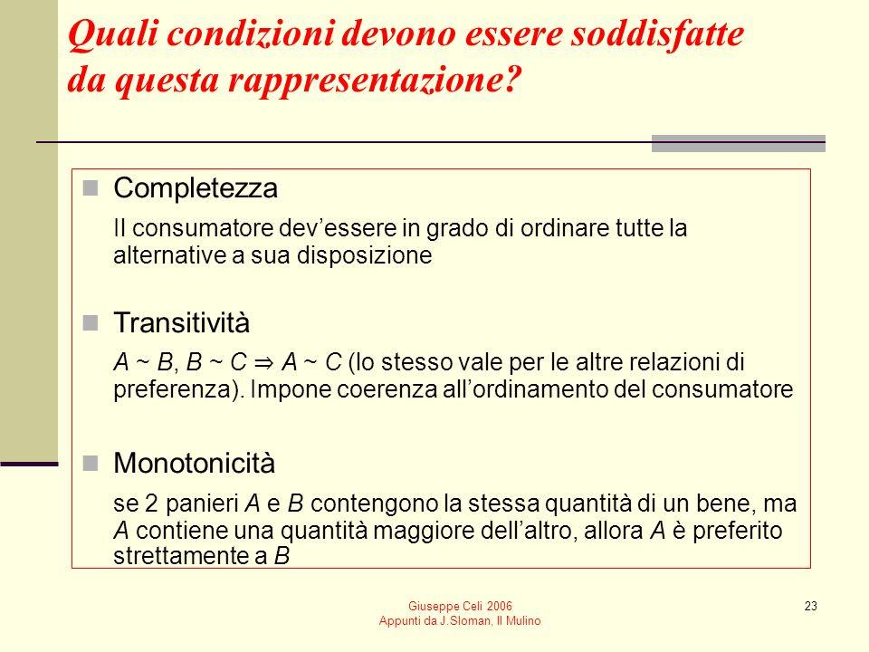 Giuseppe Celi 2006 Appunti da J.Sloman, Il Mulino 23 Quali condizioni devono essere soddisfatte da questa rappresentazione? Completezza Il consumatore