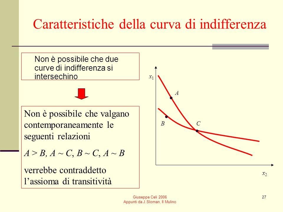 Giuseppe Celi 2006 Appunti da J.Sloman, Il Mulino 27 Caratteristiche della curva di indifferenza Non è possibile che due curve di indifferenza si inte