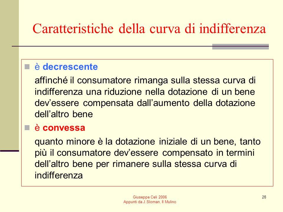 Giuseppe Celi 2006 Appunti da J.Sloman, Il Mulino 28 Caratteristiche della curva di indifferenza è decrescente affinché il consumatore rimanga sulla s