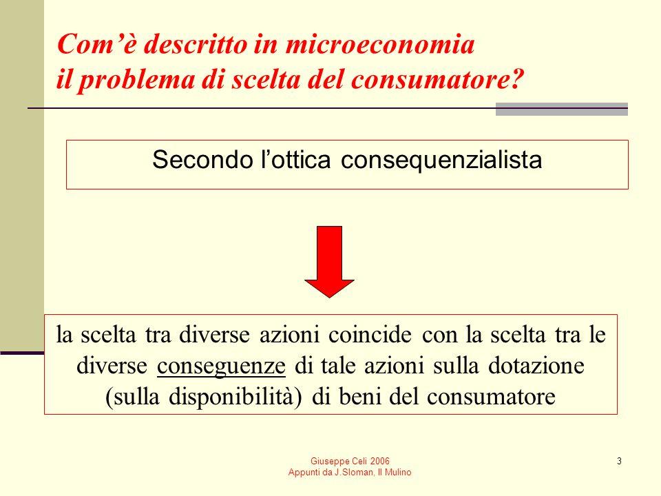 Giuseppe Celi 2006 Appunti da J.Sloman, Il Mulino 3 Comè descritto in microeconomia il problema di scelta del consumatore? Secondo lottica consequenzi