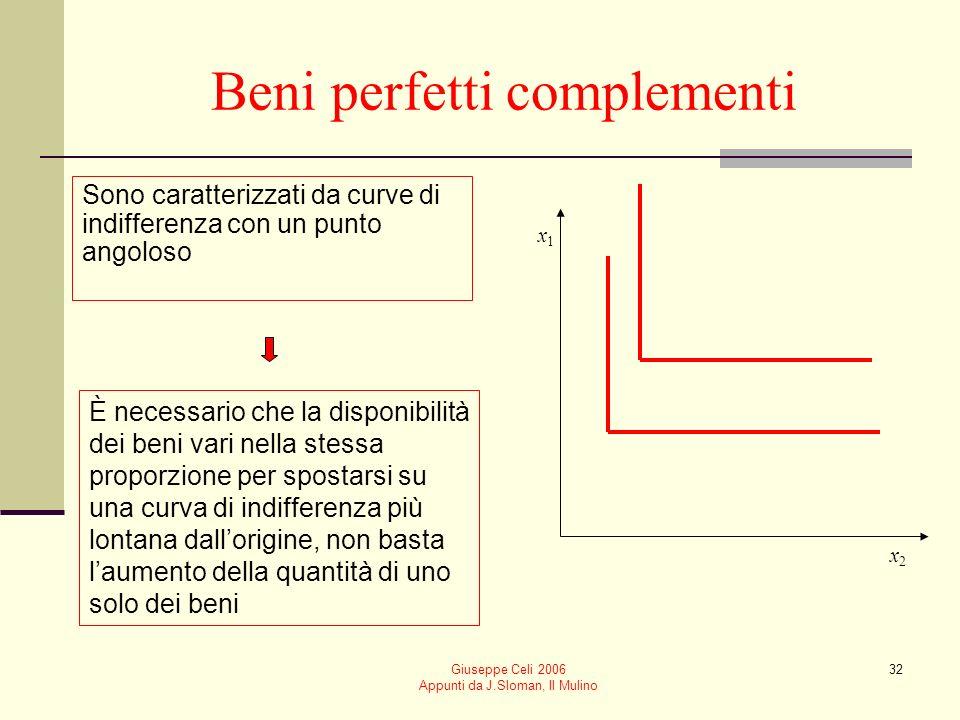 Giuseppe Celi 2006 Appunti da J.Sloman, Il Mulino 32 Beni perfetti complementi Sono caratterizzati da curve di indifferenza con un punto angoloso È ne