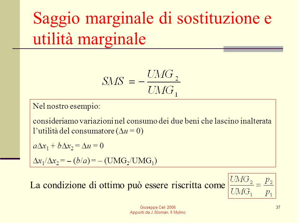 Giuseppe Celi 2006 Appunti da J.Sloman, Il Mulino 37 Saggio marginale di sostituzione e utilità marginale Nel nostro esempio: consideriamo variazioni