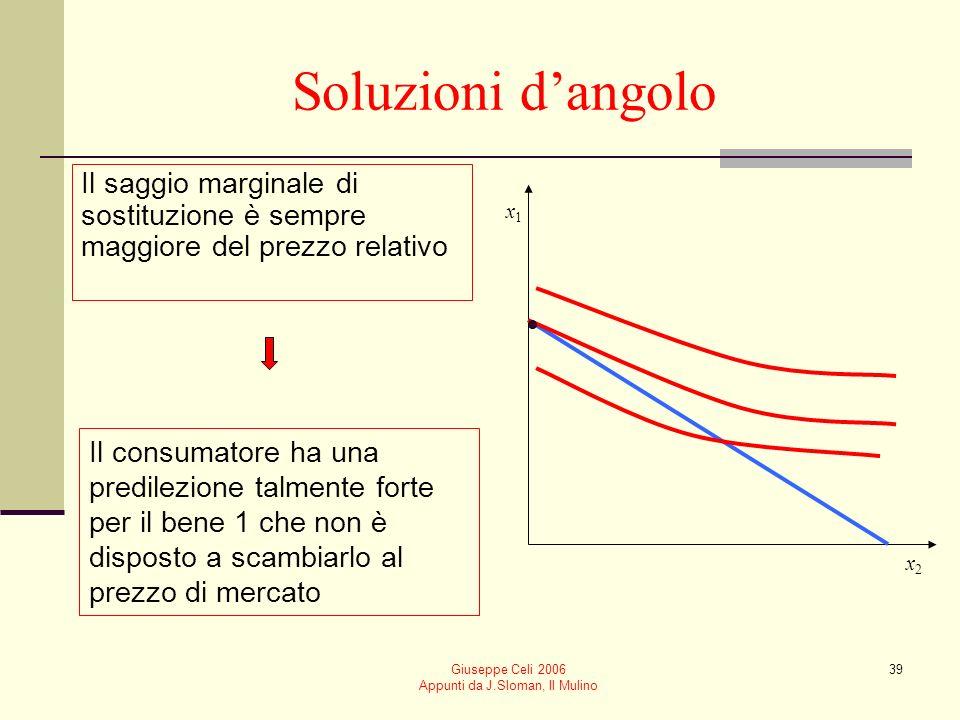 Giuseppe Celi 2006 Appunti da J.Sloman, Il Mulino 39 Soluzioni dangolo Il saggio marginale di sostituzione è sempre maggiore del prezzo relativo Il co