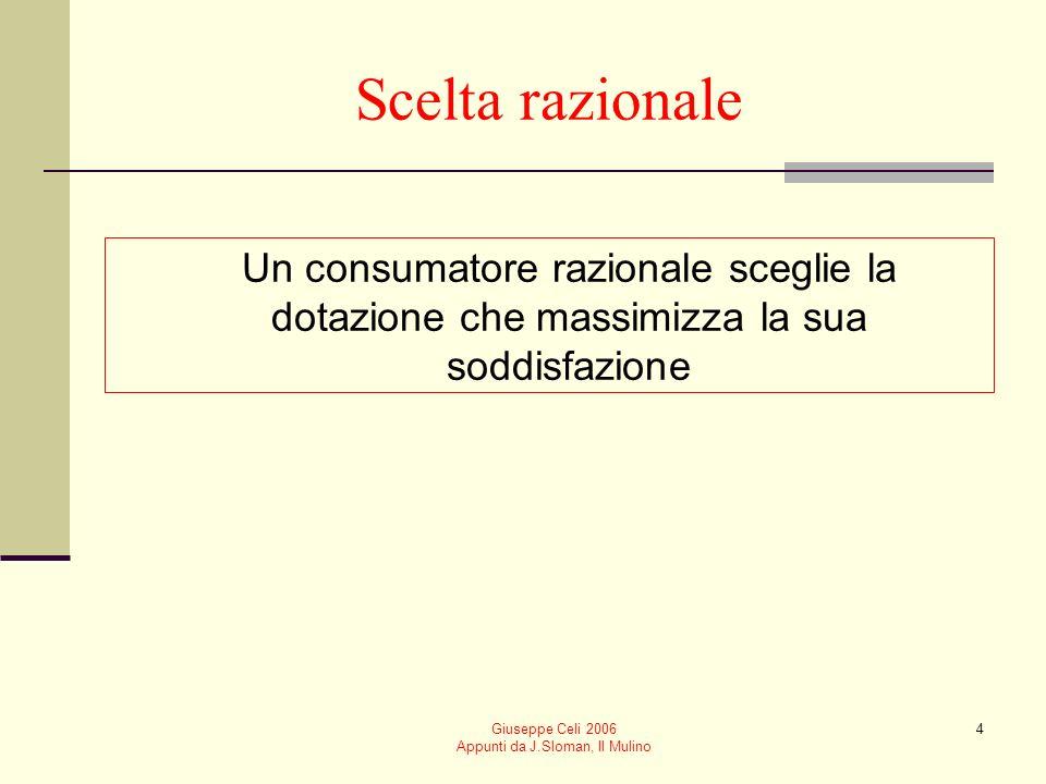 Giuseppe Celi 2006 Appunti da J.Sloman, Il Mulino 4 Scelta razionale Un consumatore razionale sceglie la dotazione che massimizza la sua soddisfazione