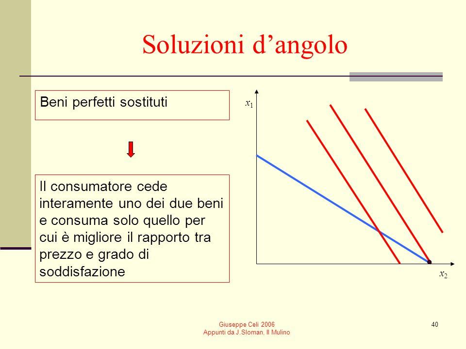 Giuseppe Celi 2006 Appunti da J.Sloman, Il Mulino 40 Soluzioni dangolo Beni perfetti sostituti Il consumatore cede interamente uno dei due beni e cons