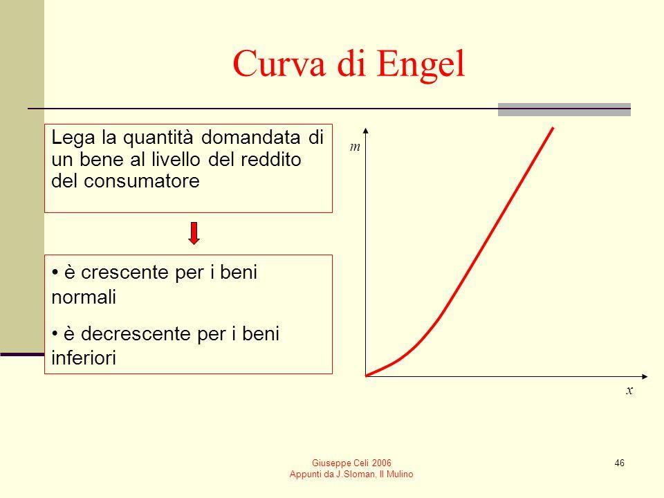 Giuseppe Celi 2006 Appunti da J.Sloman, Il Mulino 46 Curva di Engel Lega la quantità domandata di un bene al livello del reddito del consumatore m x è