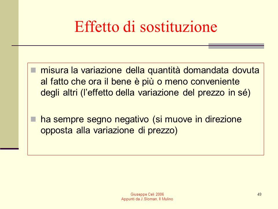 Giuseppe Celi 2006 Appunti da J.Sloman, Il Mulino 49 Effetto di sostituzione misura la variazione della quantità domandata dovuta al fatto che ora il