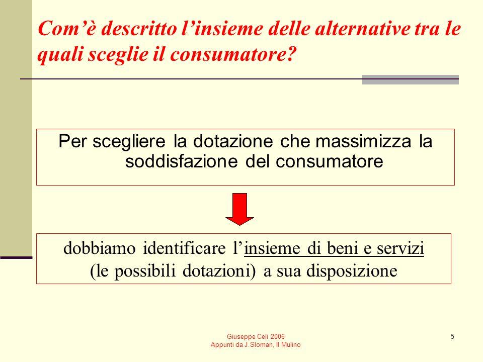Giuseppe Celi 2006 Appunti da J.Sloman, Il Mulino 36 Utilità marginale Rappresenta la variazione di utilità conseguente a una variazione unitaria nel consumo di un bene (a parità di consumo dellaltro bene) Nel nostro esempio a x 1 + b x 2 = use x 2 = 0a x 1 = u quindi UMG 1 = u/ x 1 = a Analogamente UMG 2 = u/ x 2 = b