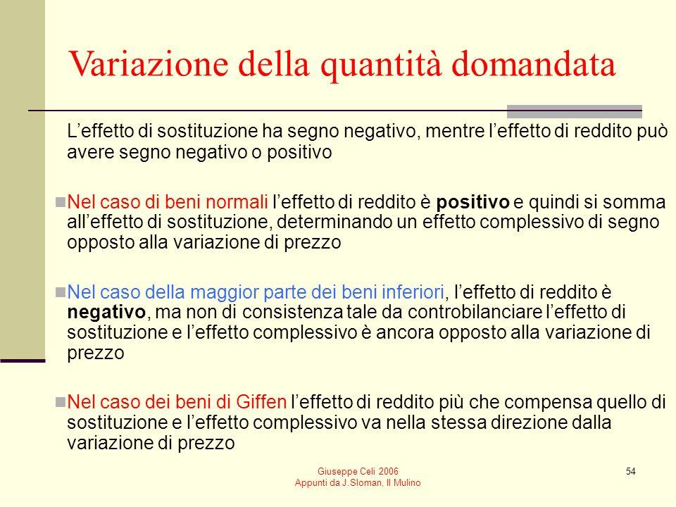 Giuseppe Celi 2006 Appunti da J.Sloman, Il Mulino 54 Variazione della quantità domandata Leffetto di sostituzione ha segno negativo, mentre leffetto d