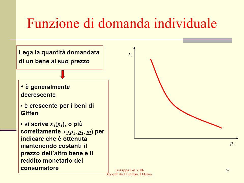 Giuseppe Celi 2006 Appunti da J.Sloman, Il Mulino 57 Funzione di domanda individuale x1x1 p1p1 è generalmente decrescente è crescente per i beni di Gi