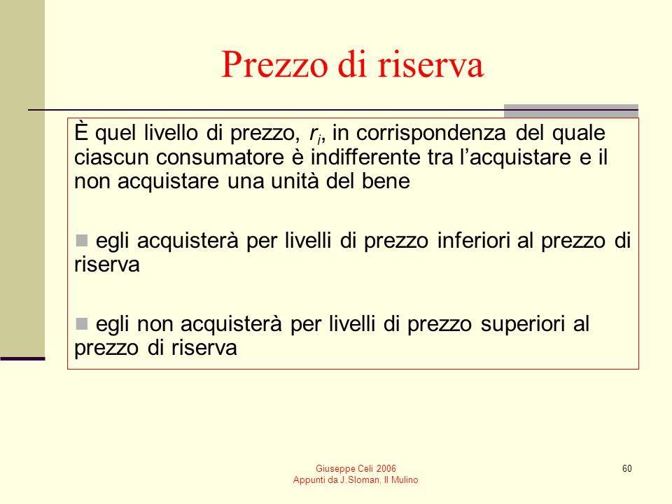 Giuseppe Celi 2006 Appunti da J.Sloman, Il Mulino 60 Prezzo di riserva È quel livello di prezzo, r i, in corrispondenza del quale ciascun consumatore