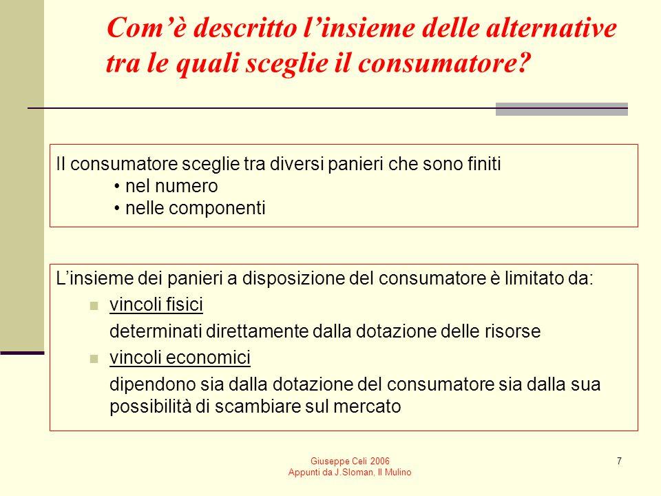 Giuseppe Celi 2006 Appunti da J.Sloman, Il Mulino 7 Il consumatore sceglie tra diversi panieri che sono finiti nel numero nelle componenti Linsieme de