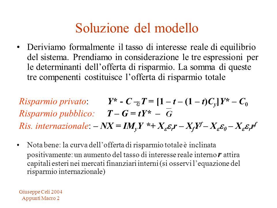 Giuseppe Celi 2004 Appunti Macro 2 Soluzione del modello Deriviamo formalmente il tasso di interesse reale di equilibrio del sistema. Prendiamo in con