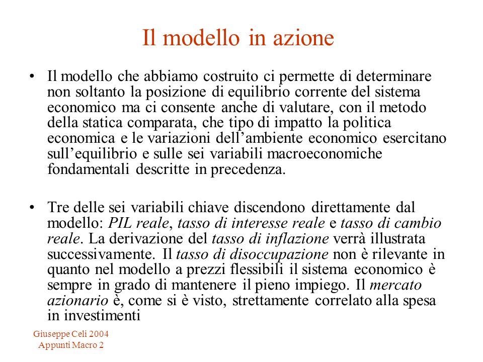 Giuseppe Celi 2004 Appunti Macro 2 Il modello in azione Il modello che abbiamo costruito ci permette di determinare non soltanto la posizione di equil