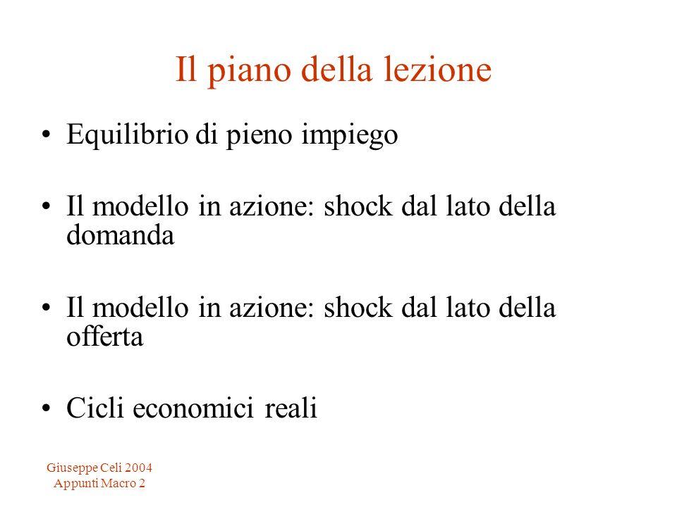 Giuseppe Celi 2004 Appunti Macro 2 Il piano della lezione Equilibrio di pieno impiego Il modello in azione: shock dal lato della domanda Il modello in