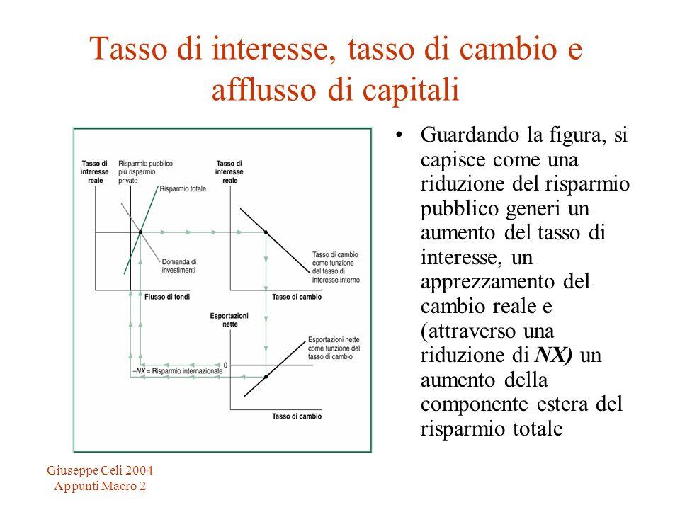Giuseppe Celi 2004 Appunti Macro 2 Tasso di interesse, tasso di cambio e afflusso di capitali Guardando la figura, si capisce come una riduzione del r