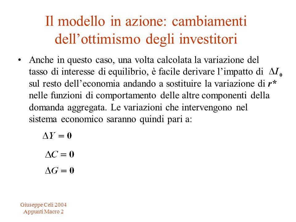 Giuseppe Celi 2004 Appunti Macro 2 Il modello in azione: cambiamenti dellottimismo degli investitori Anche in questo caso, una volta calcolata la vari