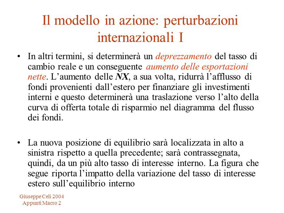 Giuseppe Celi 2004 Appunti Macro 2 Il modello in azione: perturbazioni internazionali I In altri termini, si determinerà un deprezzamento del tasso di