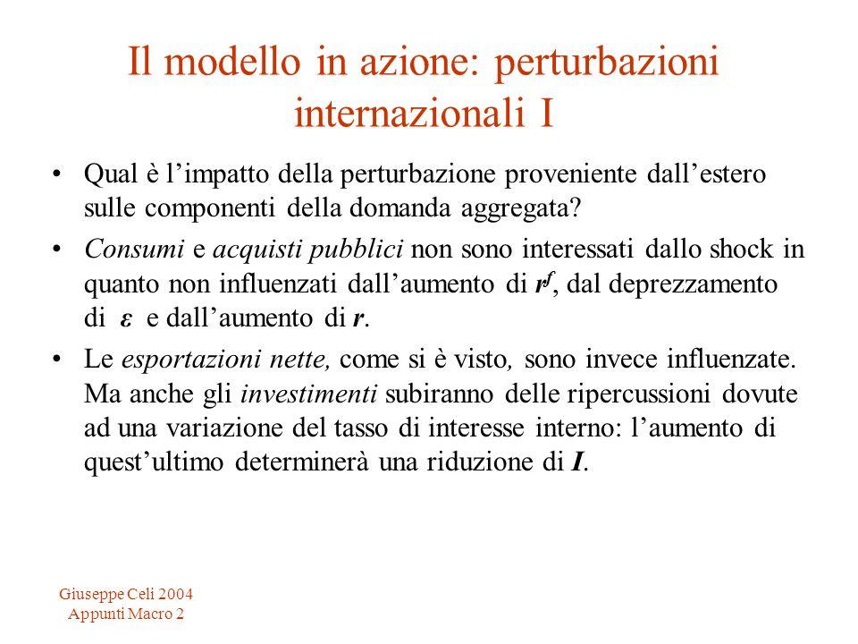 Giuseppe Celi 2004 Appunti Macro 2 Il modello in azione: perturbazioni internazionali I Qual è limpatto della perturbazione proveniente dallestero sul