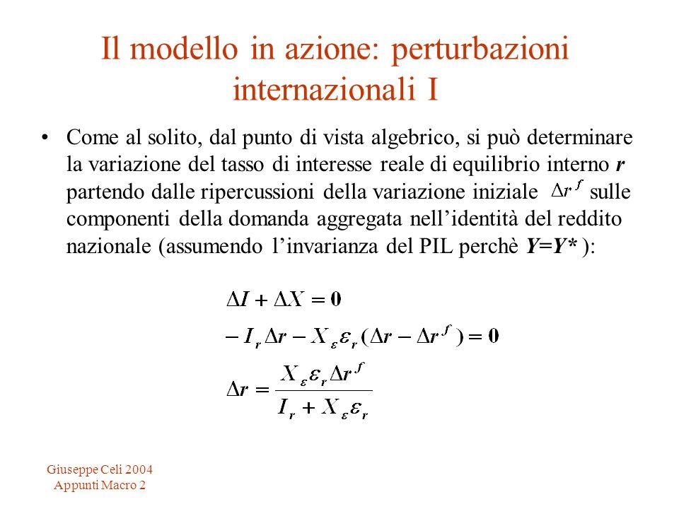 Giuseppe Celi 2004 Appunti Macro 2 Il modello in azione: perturbazioni internazionali I Come al solito, dal punto di vista algebrico, si può determina