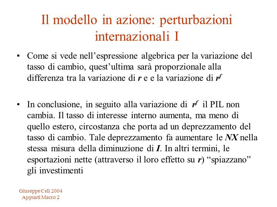 Giuseppe Celi 2004 Appunti Macro 2 Il modello in azione: perturbazioni internazionali I Come si vede nellespressione algebrica per la variazione del t