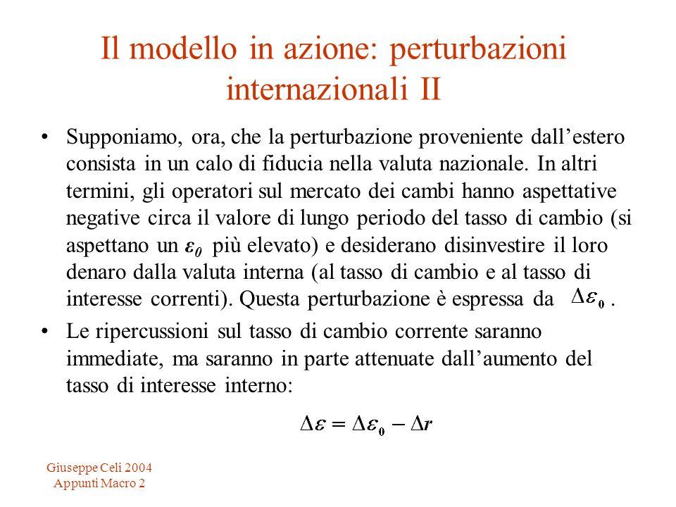 Giuseppe Celi 2004 Appunti Macro 2 Il modello in azione: perturbazioni internazionali II Supponiamo, ora, che la perturbazione proveniente dallestero