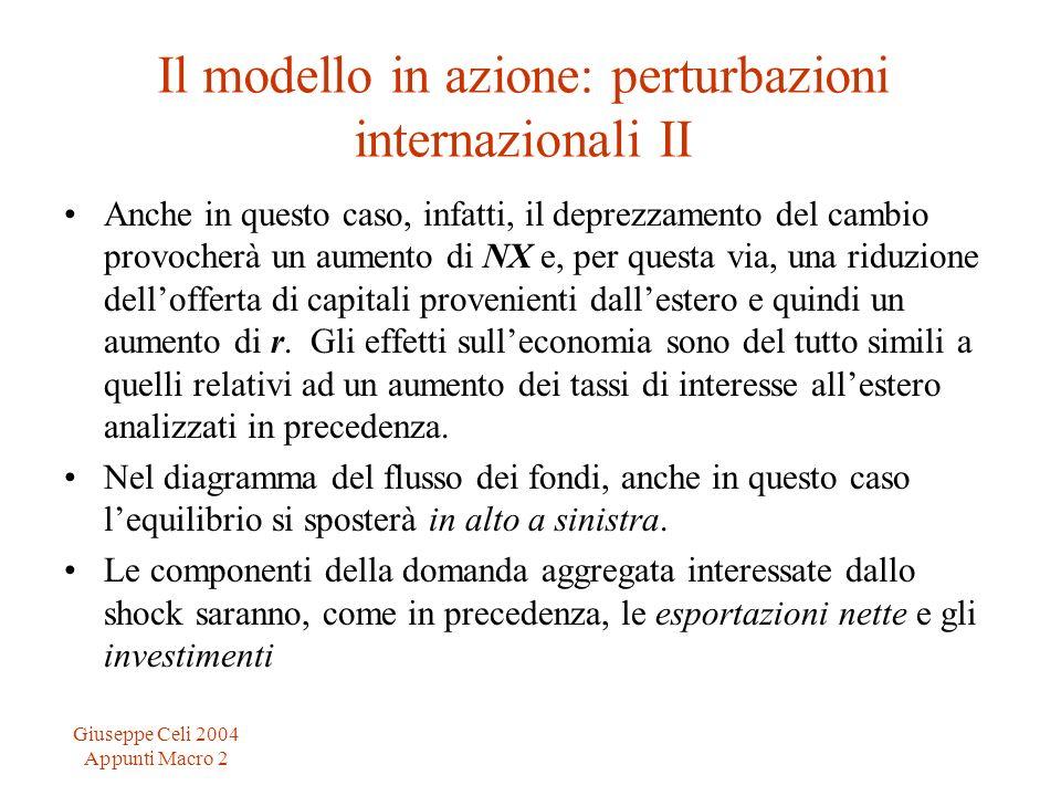 Giuseppe Celi 2004 Appunti Macro 2 Il modello in azione: perturbazioni internazionali II Anche in questo caso, infatti, il deprezzamento del cambio pr