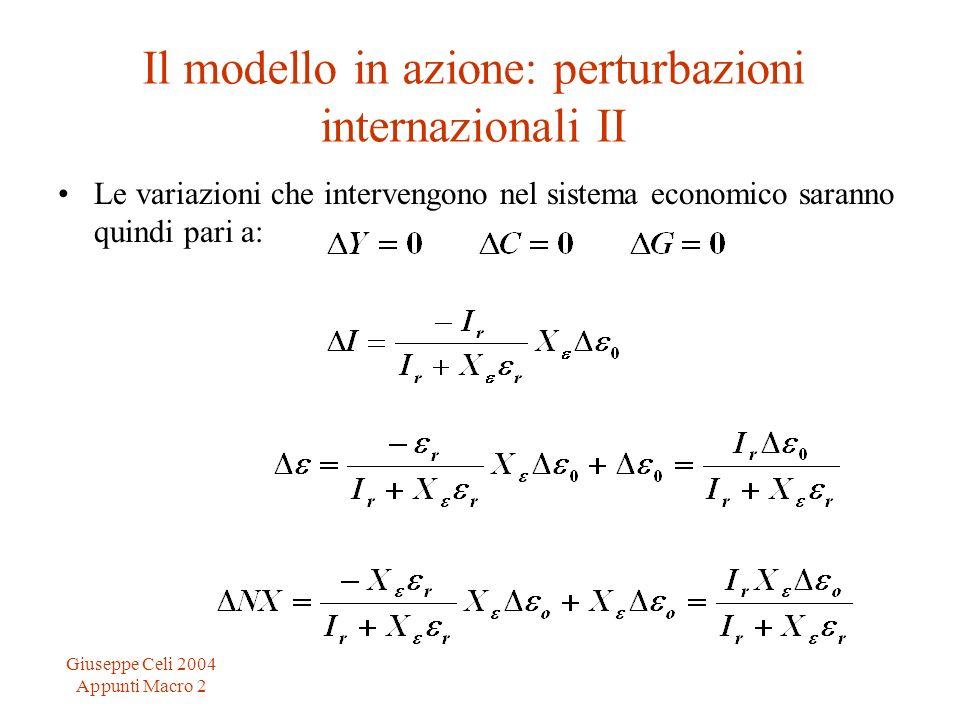 Giuseppe Celi 2004 Appunti Macro 2 Il modello in azione: perturbazioni internazionali II Le variazioni che intervengono nel sistema economico saranno