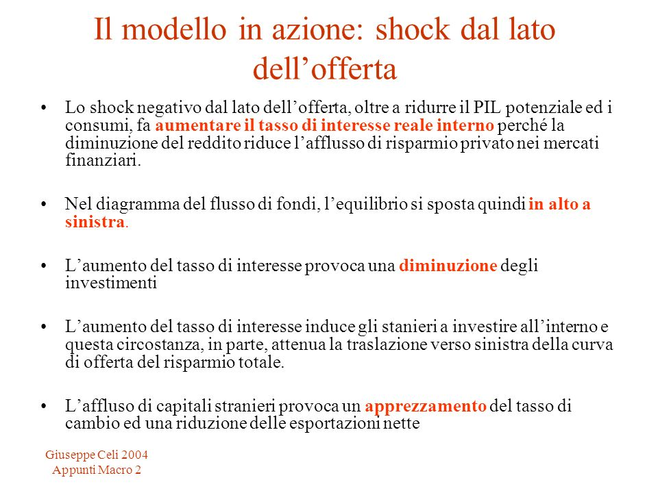 Giuseppe Celi 2004 Appunti Macro 2 Il modello in azione: shock dal lato dellofferta Lo shock negativo dal lato dellofferta, oltre a ridurre il PIL pot