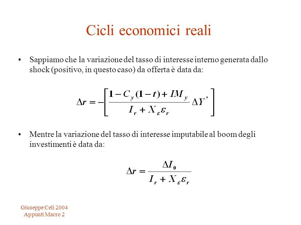 Giuseppe Celi 2004 Appunti Macro 2 Cicli economici reali Sappiamo che la variazione del tasso di interesse interno generata dallo shock (positivo, in