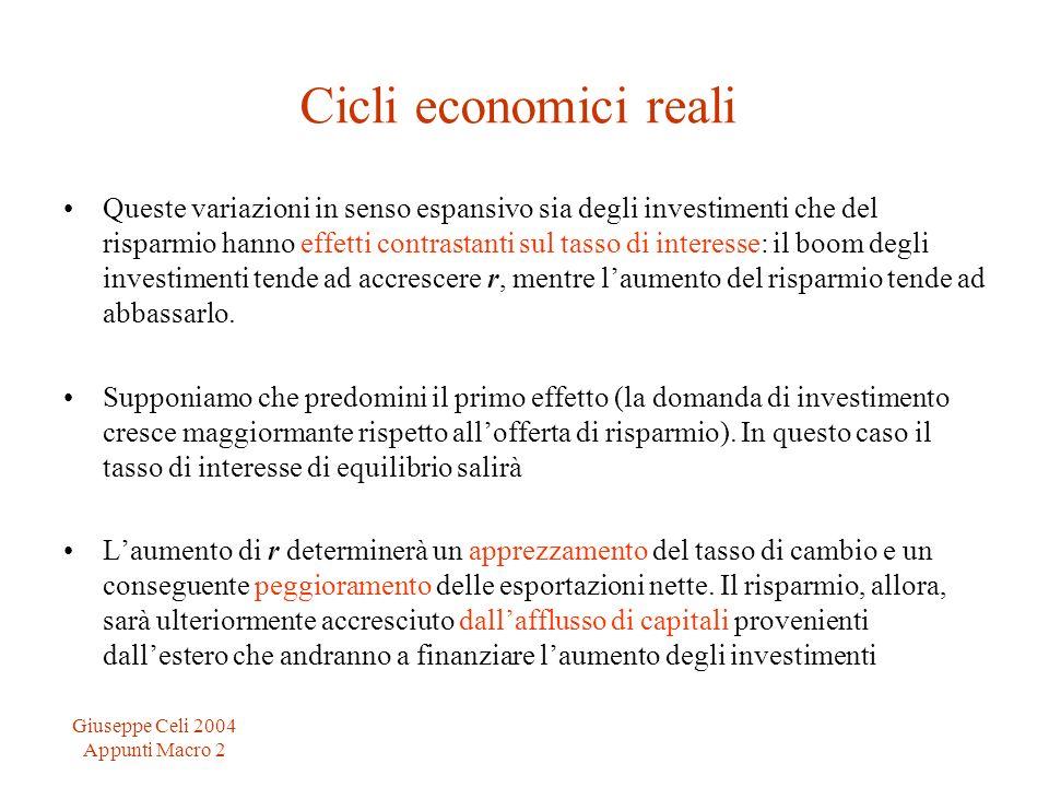 Giuseppe Celi 2004 Appunti Macro 2 Cicli economici reali Queste variazioni in senso espansivo sia degli investimenti che del risparmio hanno effetti c