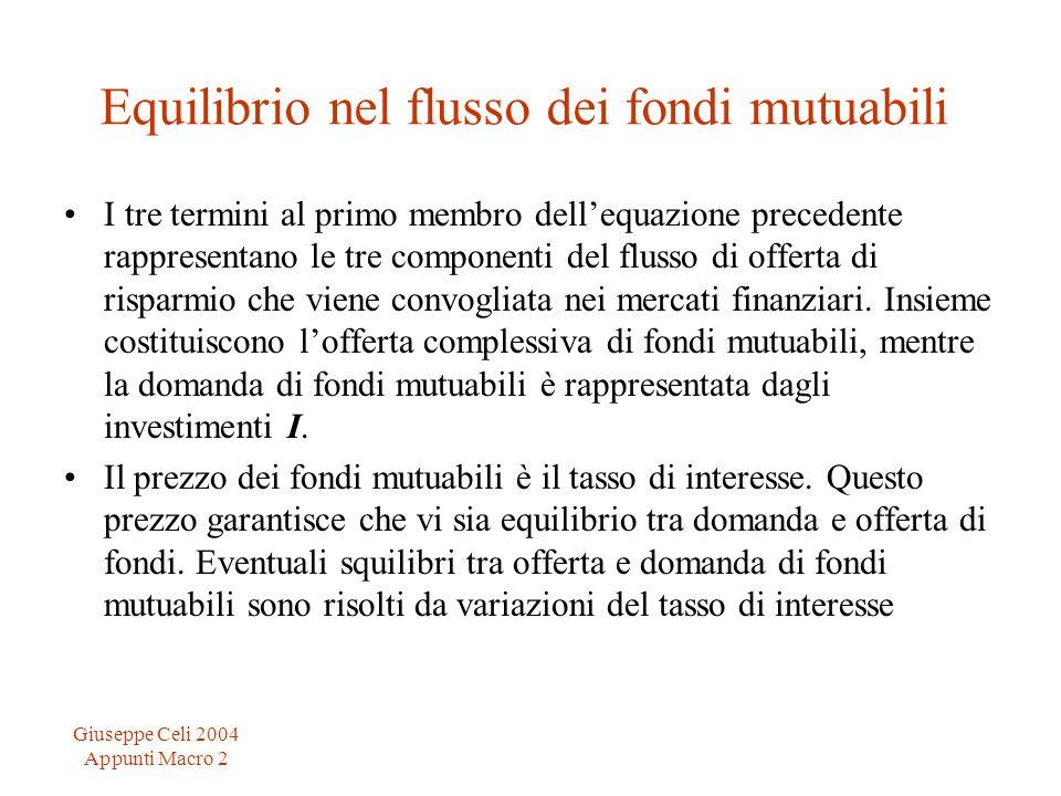 Giuseppe Celi 2004 Appunti Macro 2 Equilibrio nel flusso dei fondi mutuabili I tre termini al primo membro dellequazione precedente rappresentano le t