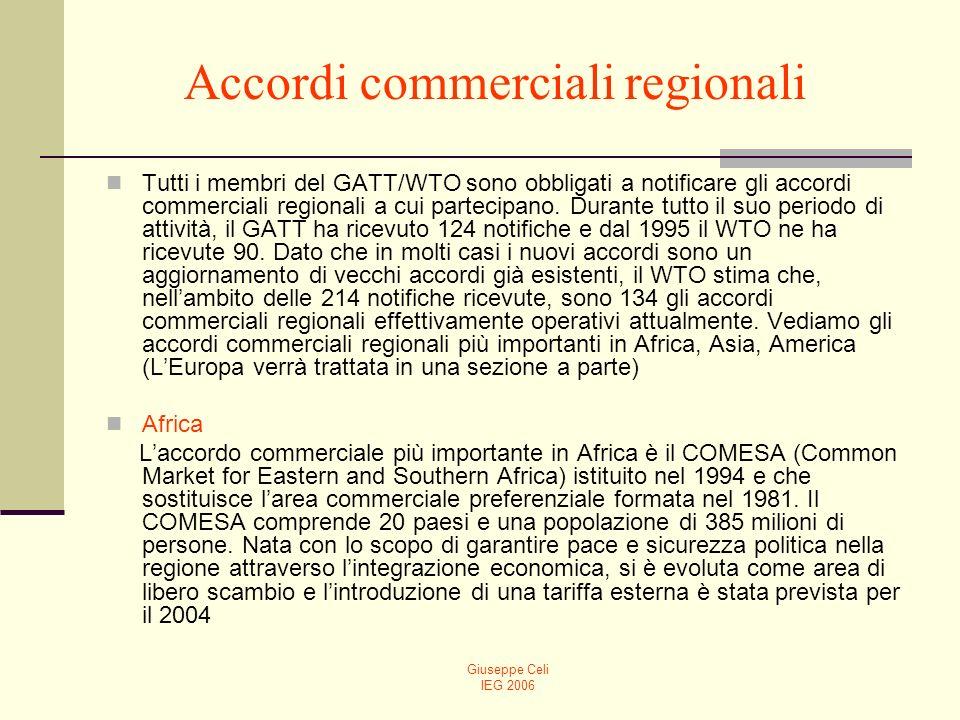 Giuseppe Celi IEG 2006 Accordi commerciali regionali Tutti i membri del GATT/WTO sono obbligati a notificare gli accordi commerciali regionali a cui partecipano.