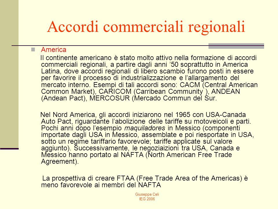 Giuseppe Celi IEG 2006 Accordi commerciali regionali America Il continente americano è stato molto attivo nella formazione di accordi commerciali regionali, a partire dagli anni 50 soprattutto in America Latina, dove accordi regionali di libero scambio furono posti in essere per favorire il processo di industrializzazione e lallargamento del mercato interno.