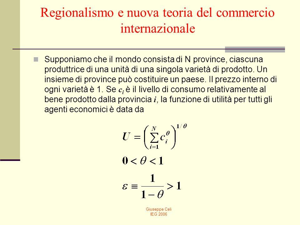 Giuseppe Celi IEG 2006 Regionalismo e nuova teoria del commercio internazionale Supponiamo che il mondo consista di N province, ciascuna produttrice di una unità di una singola varietà di prodotto.