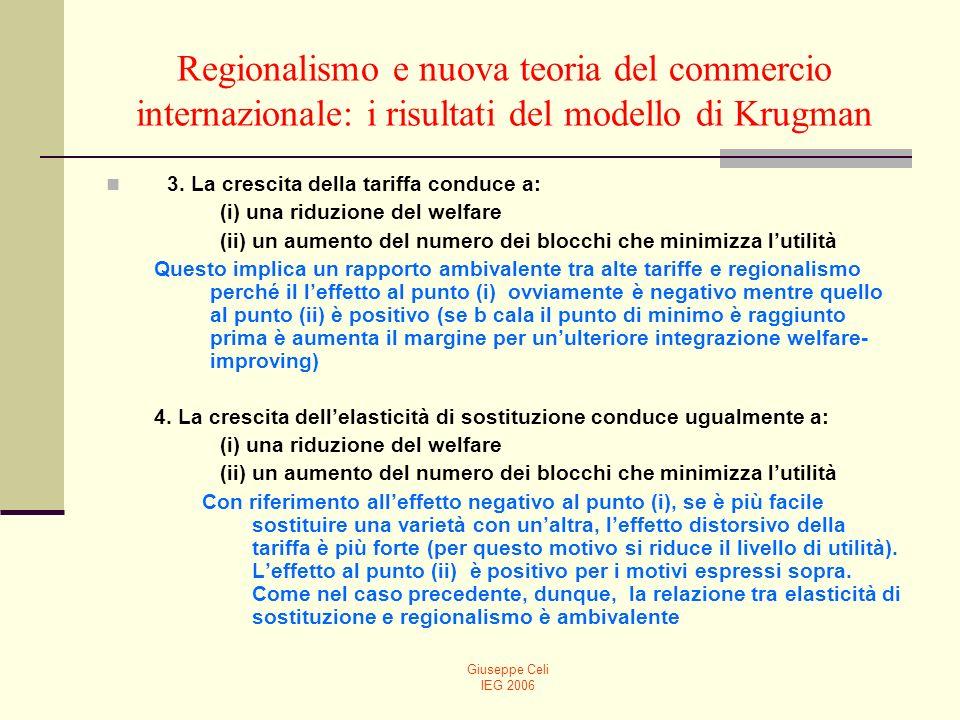 Giuseppe Celi IEG 2006 Regionalismo e nuova teoria del commercio internazionale: i risultati del modello di Krugman 3. La crescita della tariffa condu