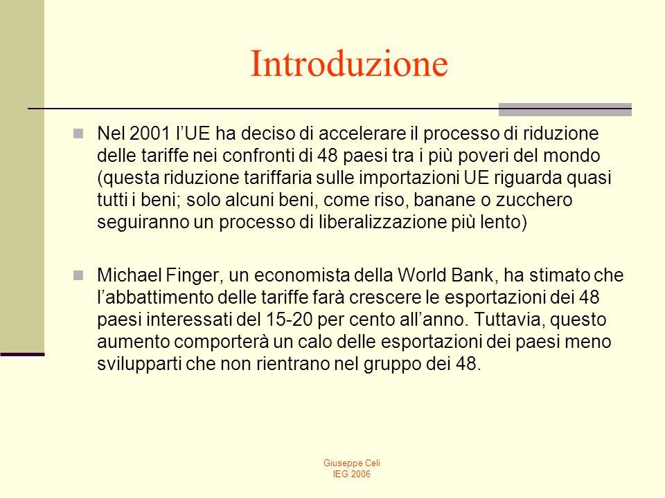 Giuseppe Celi IEG 2006 Introduzione Nel 2001 lUE ha deciso di accelerare il processo di riduzione delle tariffe nei confronti di 48 paesi tra i più po
