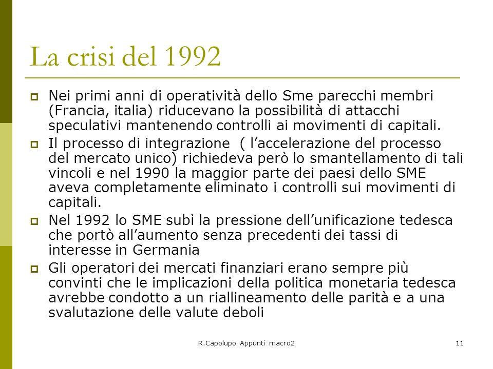 R.Capolupo Appunti macro211 La crisi del 1992 Nei primi anni di operatività dello Sme parecchi membri (Francia, italia) riducevano la possibilità di a