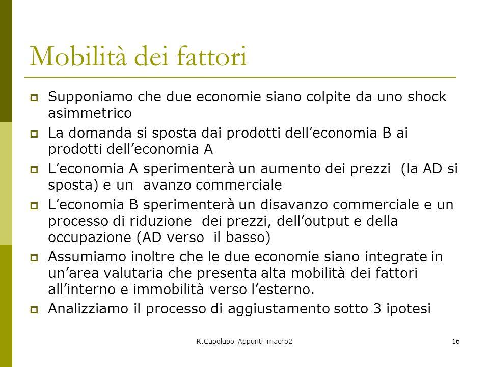 R.Capolupo Appunti macro216 Mobilità dei fattori Supponiamo che due economie siano colpite da uno shock asimmetrico La domanda si sposta dai prodotti