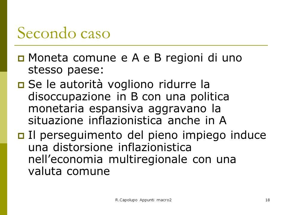 R.Capolupo Appunti macro218 Secondo caso Moneta comune e A e B regioni di uno stesso paese: Se le autorità vogliono ridurre la disoccupazione in B con