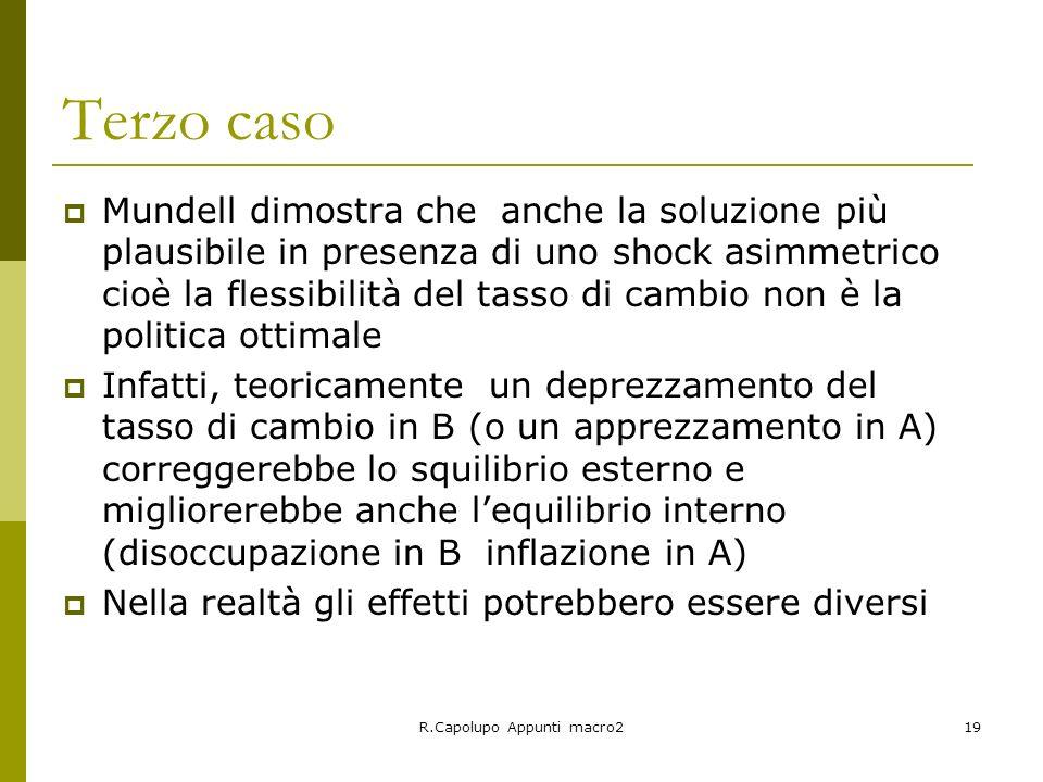R.Capolupo Appunti macro219 Terzo caso Mundell dimostra che anche la soluzione più plausibile in presenza di uno shock asimmetrico cioè la flessibilit