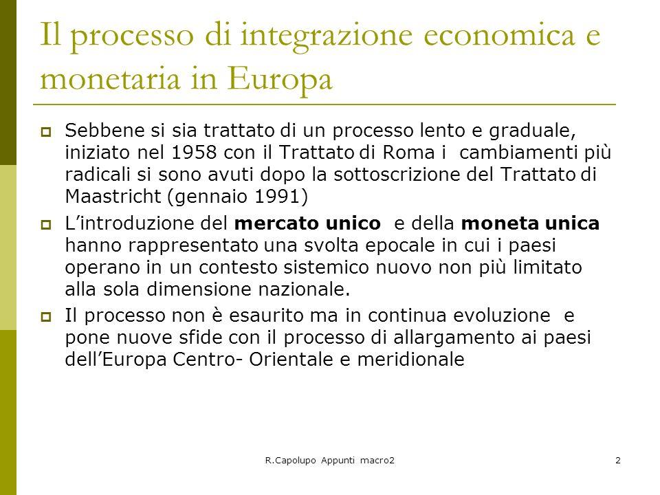 R.Capolupo Appunti macro22 Il processo di integrazione economica e monetaria in Europa Sebbene si sia trattato di un processo lento e graduale, inizia