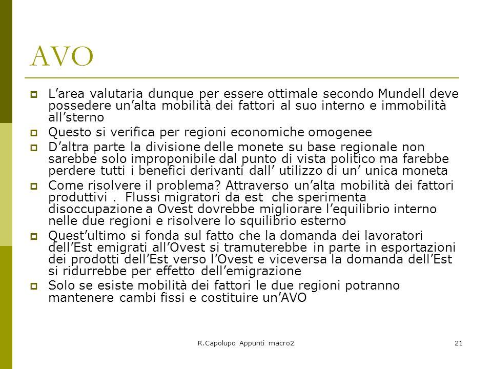 R.Capolupo Appunti macro221 AVO Larea valutaria dunque per essere ottimale secondo Mundell deve possedere unalta mobilità dei fattori al suo interno e