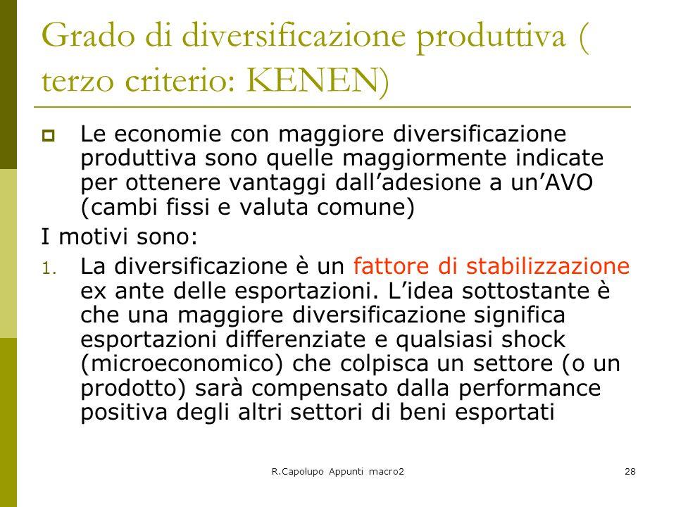 R.Capolupo Appunti macro228 Grado di diversificazione produttiva ( terzo criterio: KENEN) Le economie con maggiore diversificazione produttiva sono qu