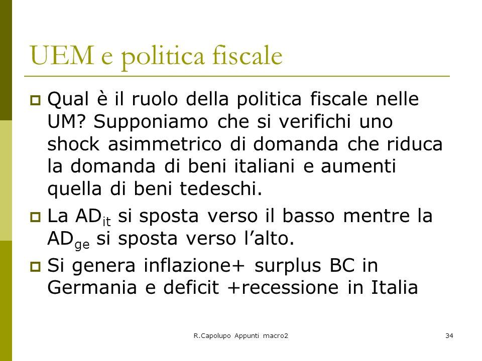 R.Capolupo Appunti macro234 UEM e politica fiscale Qual è il ruolo della politica fiscale nelle UM? Supponiamo che si verifichi uno shock asimmetrico