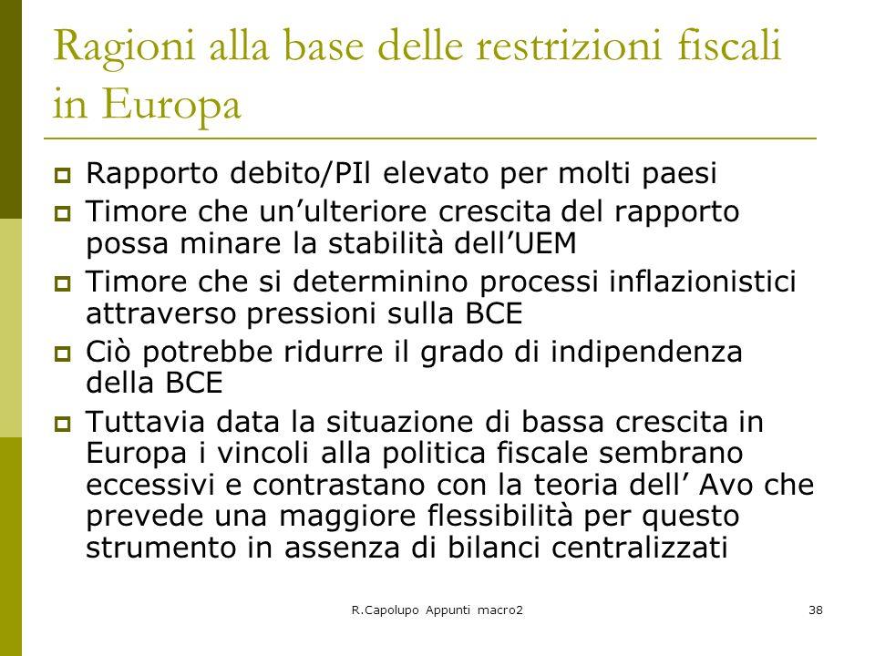 R.Capolupo Appunti macro238 Ragioni alla base delle restrizioni fiscali in Europa Rapporto debito/PIl elevato per molti paesi Timore che unulteriore c