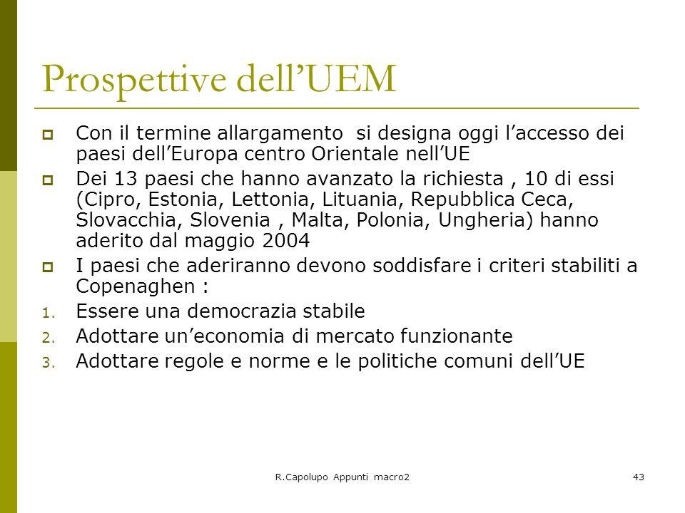 R.Capolupo Appunti macro243 Prospettive dellUEM Con il termine allargamento si designa oggi laccesso dei paesi dellEuropa centro Orientale nellUE Dei