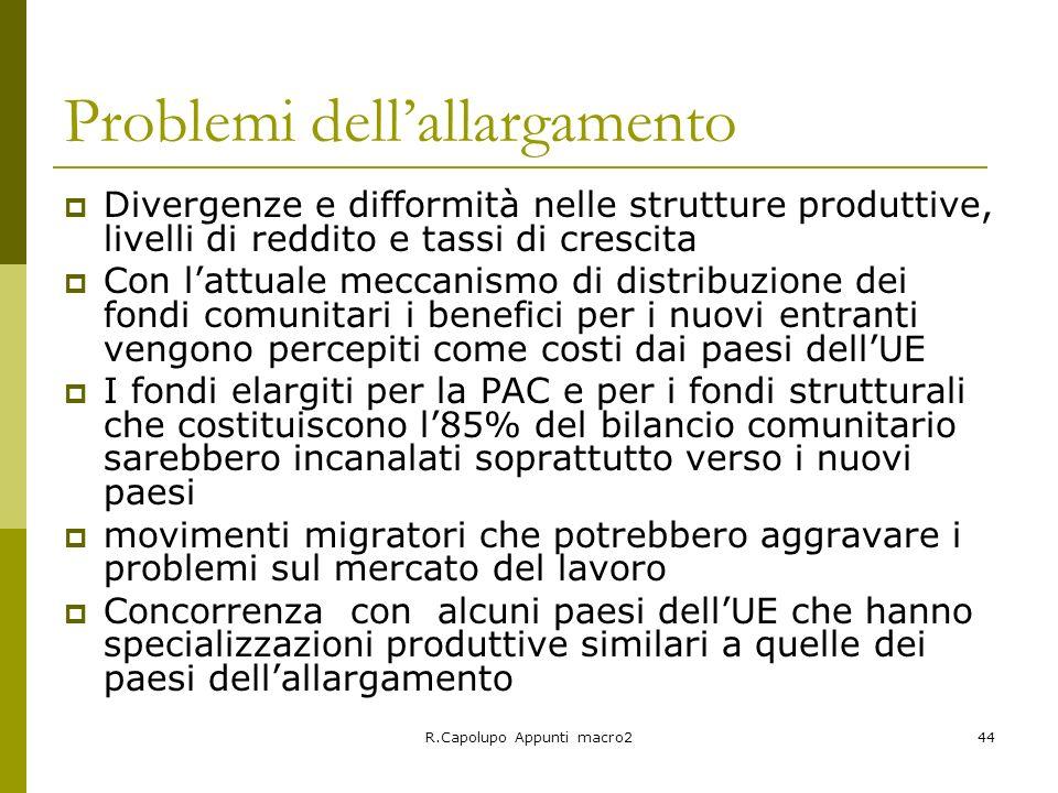 R.Capolupo Appunti macro244 Problemi dellallargamento Divergenze e difformità nelle strutture produttive, livelli di reddito e tassi di crescita Con l