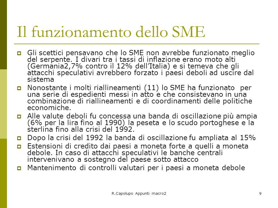 R.Capolupo Appunti macro29 Il funzionamento dello SME Gli scettici pensavano che lo SME non avrebbe funzionato meglio del serpente. I divari tra i tas